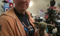 TL and his new croched Yoda. It's a gift, he swears.